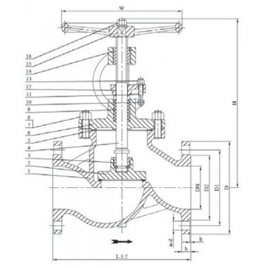 Клапан / вентиль запорный 15с22нж Ду125 Ру40