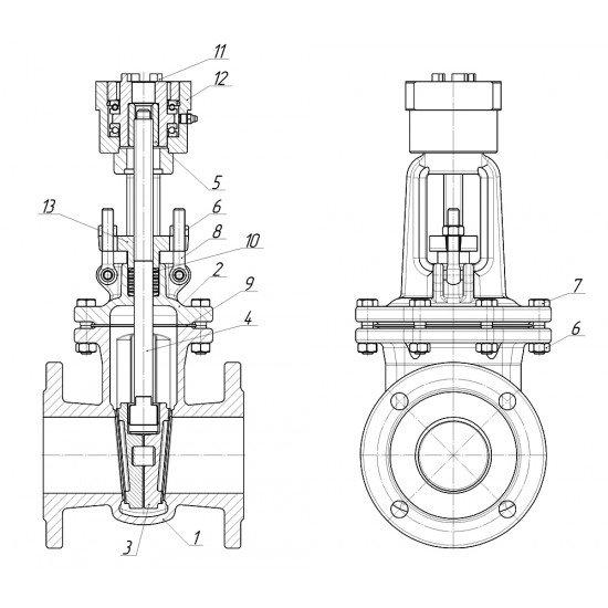 Задвижка стальная литая клиновая под электропривод 30с941нж Ду500 Ру16
