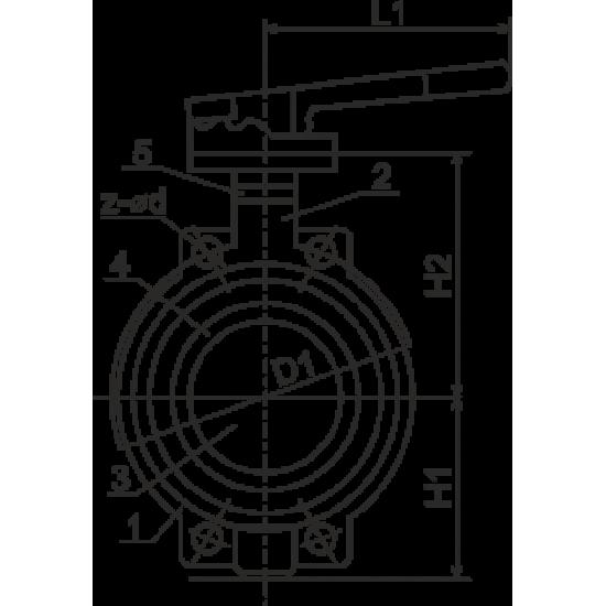 Затвор чугунный дисковый поворотный Ду250 Ру16