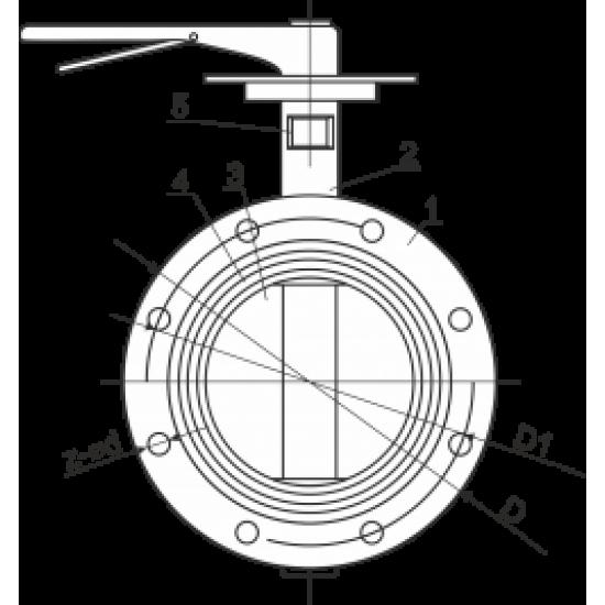 Затвор чугунный дисковый поворотный фланцевый Ду125 Ру10