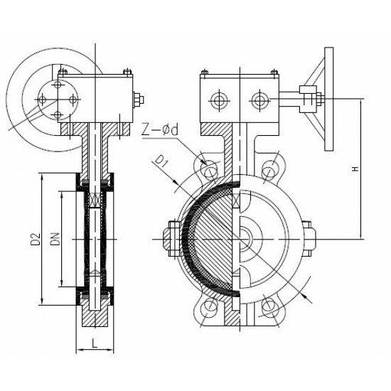 Затвор чугунный дисковый поворотный с редуктором Ду500 Ру10