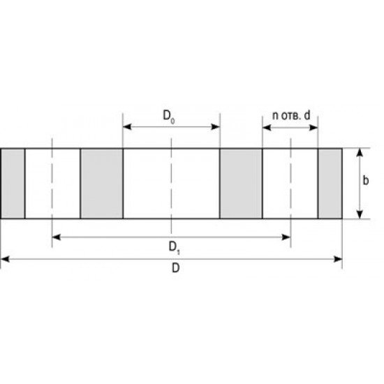Фланец плоский прижимной под ПЭ втулку Ду 50 Ру16 сталь 20 ГОСТ 12820-80
