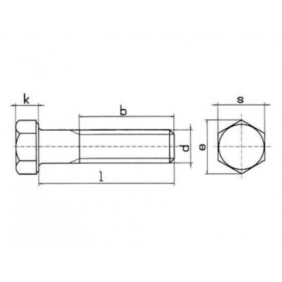 Болт высокопрочный М16х60 сталь 12Х18Н10Т ГОСТ 7798-70