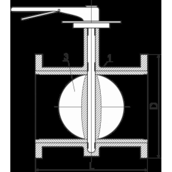 Затвор чугунный дисковый поворотный фланцевый Ду150 Ру16