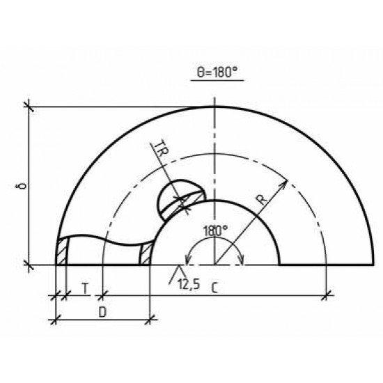 Отвод П180* Ду 406,4 х 12,5 Сталь 09Г2С / 1 исполнение ГОСТ 30753-2001